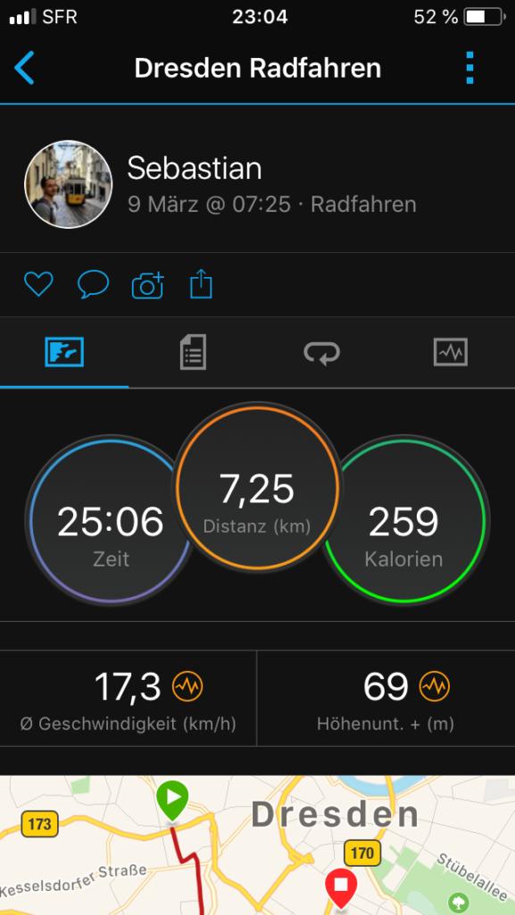 Strecke vom Fahrrad in der Garmin Connect App